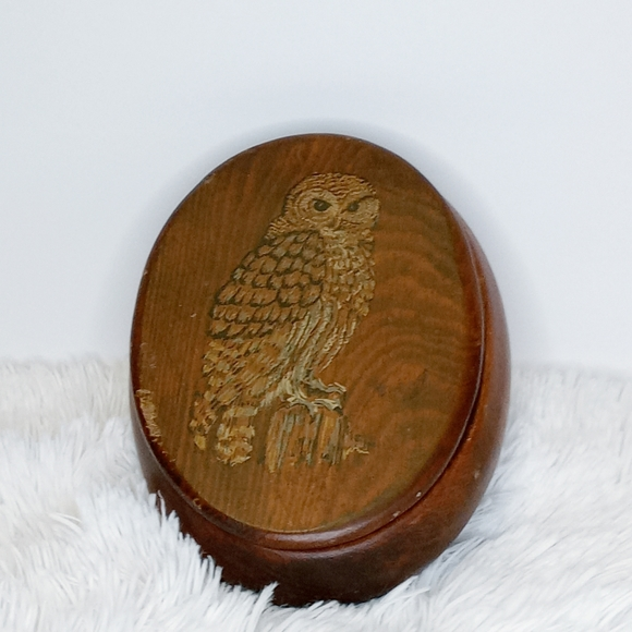 Vintage Wooden Oval Box Hand Painted Owl